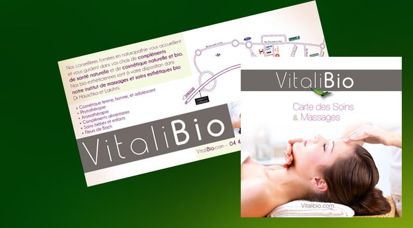 Carte des soins Vitalibio - Conception et réalisation Hexa-Aix à Aix-en-Provence