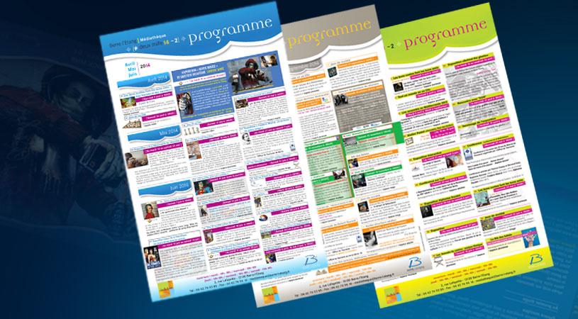 création graphique et impression affiches programme Médiathèque de Berre par HEXA AIX